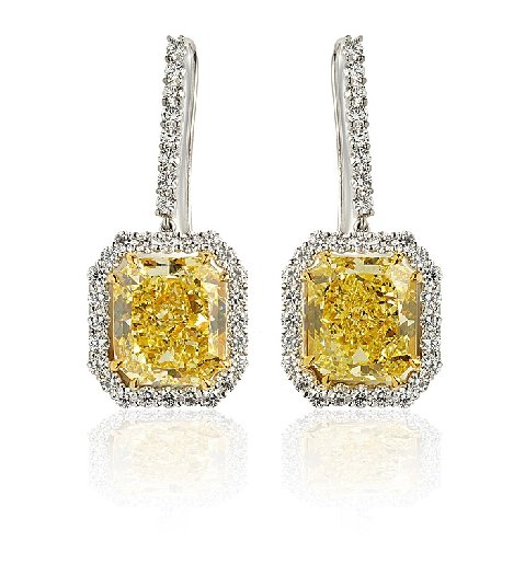 Radiant Rect - Fancy Intense Yellow Matching Pair