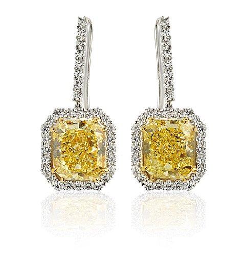 Radiant Rect - Fancy Intense Yellow Matching Pair